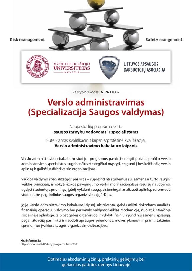 Studijų programos aprašymas - Verslo administravimas (specializacija Saugos valdymas)